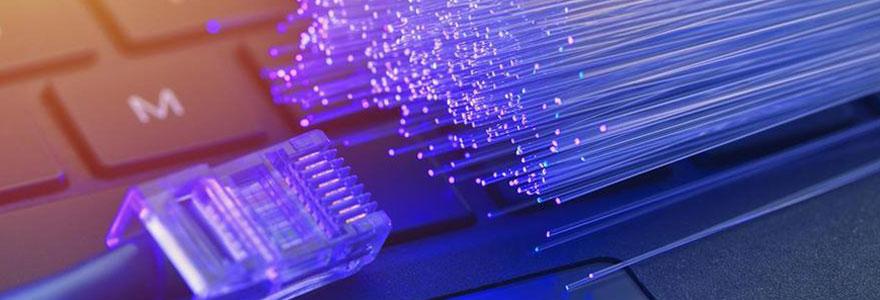 Image d'une fibre optique et d'un clavier